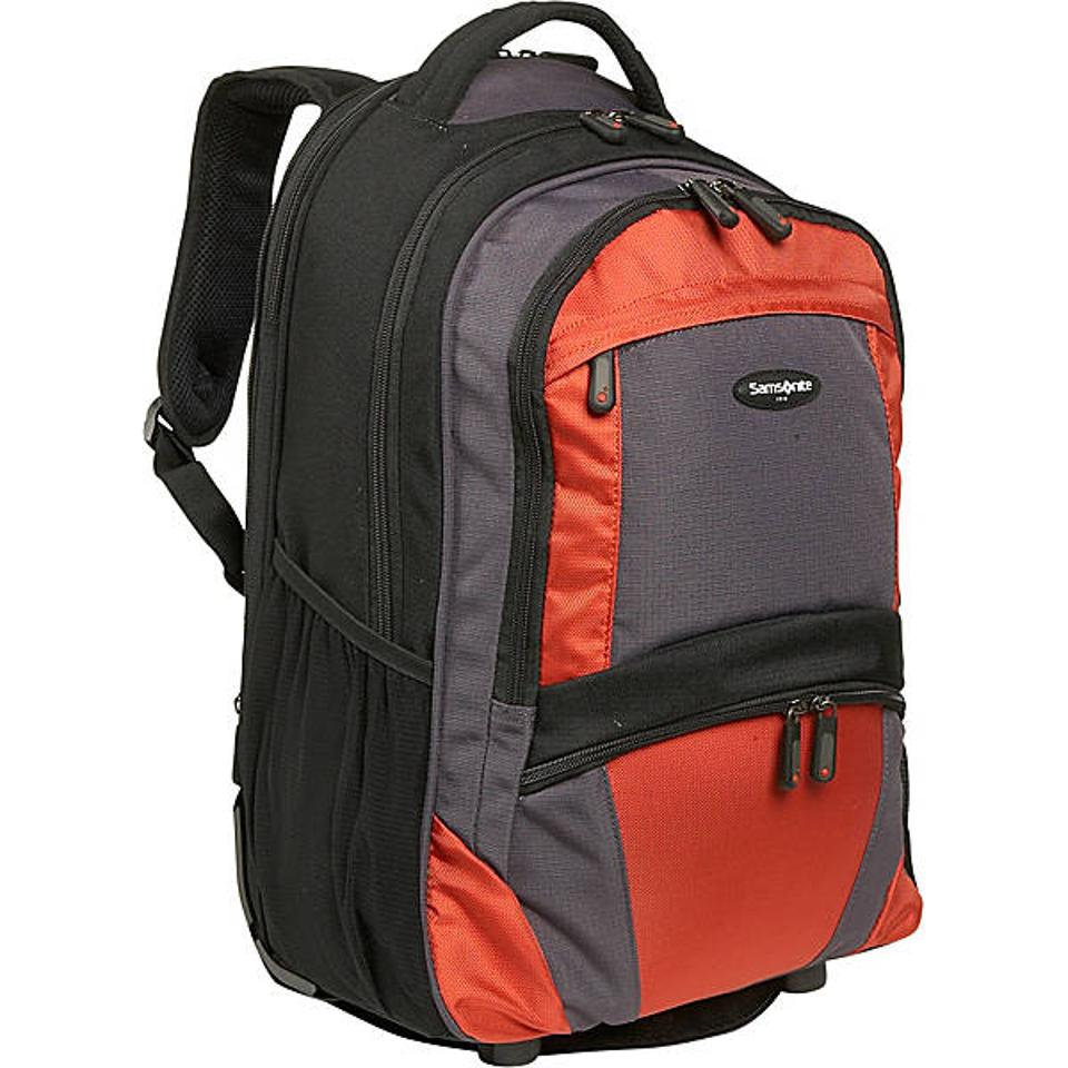 Samsonsite backpack features a large main compartment for storing bigger items.
