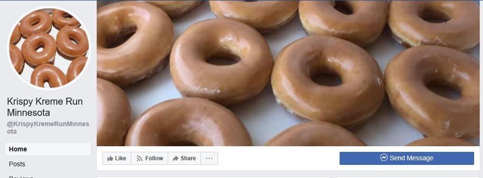 Krispy Kreme Chạy trang Facebook của Minnesota