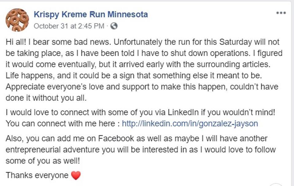 Jayson Gonzalez thông báo trên Facebook rằng dịch vụ giao bánh donut của anh đã ngừng hoạt động.