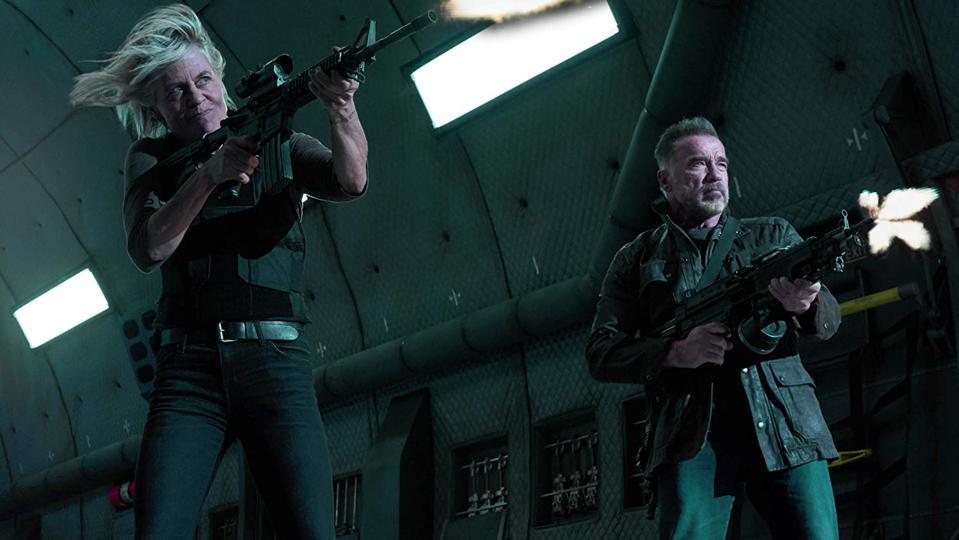 Linda Hamilton and Arnold Schwarzenegger in Tim Miller and James Cameron's 'Terminator Dark Fate'