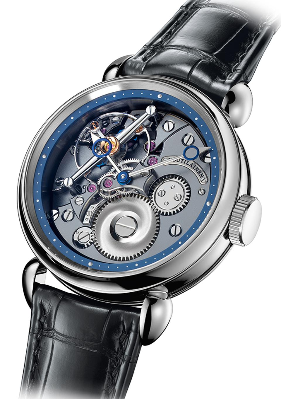 Voutilainen won the Men's Watch prize for the 28ti, a titanium watch with the movement, including its distinctive large balance wheel, visible on the dial.
