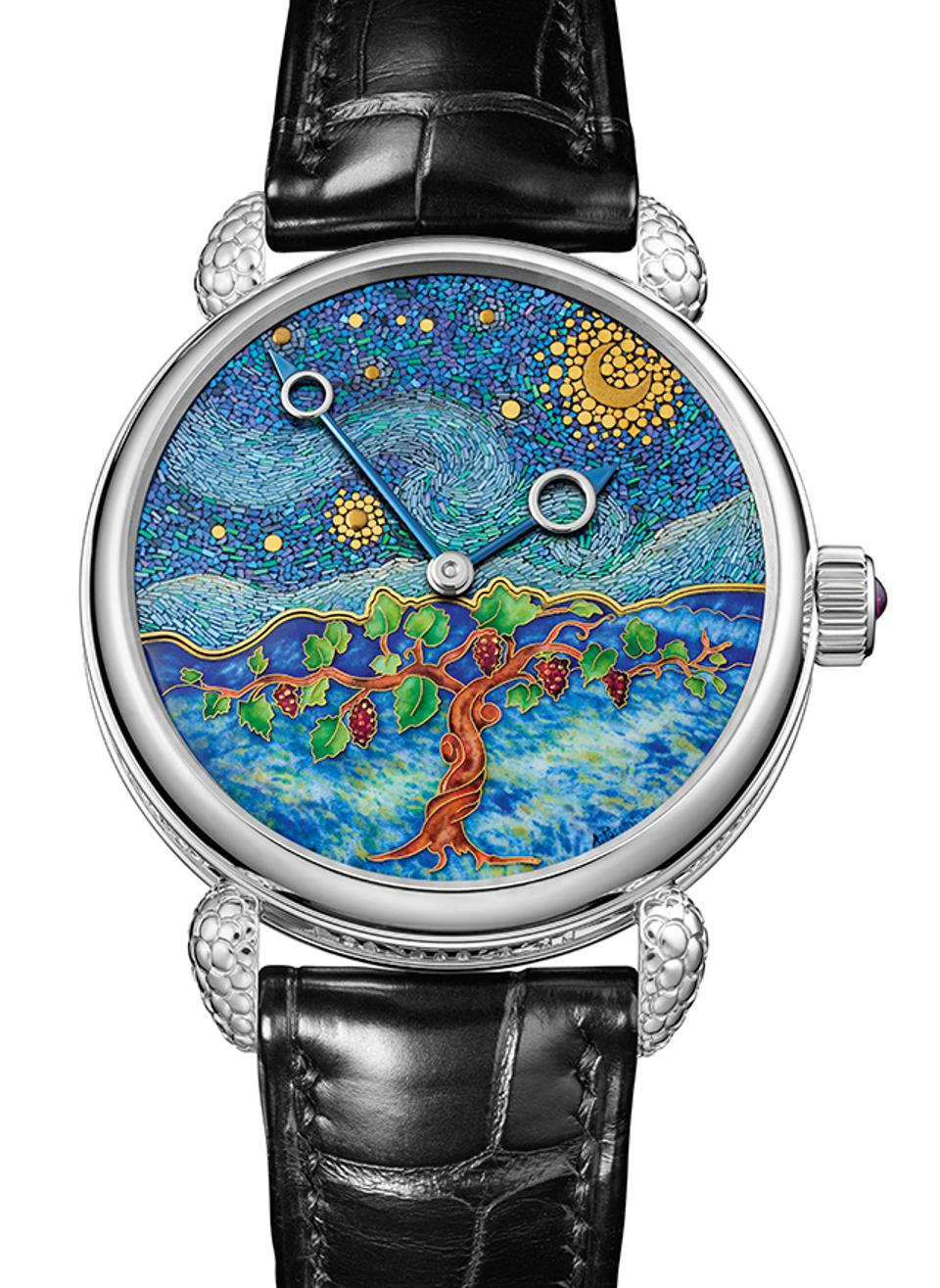 Voutilainen won the Artistic Crafts prize for his Starry Night Vine, with a Japanese lacquer and cloisonné enamel dial depicting a landscape.
