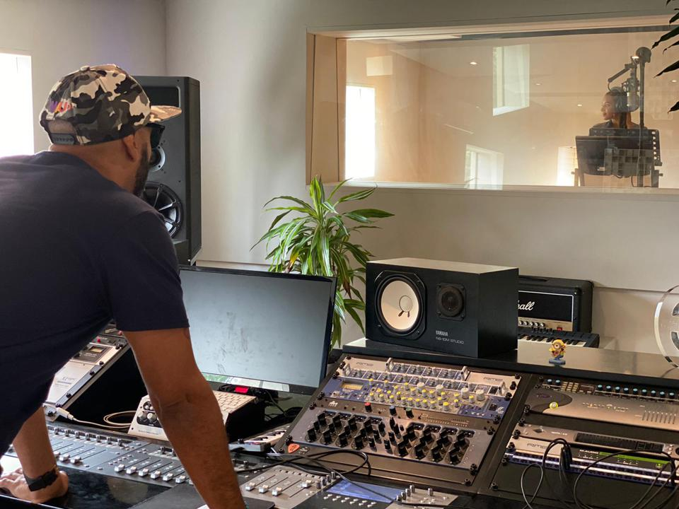 Jalen James Acosta, cofounder and CEO of World Artists United, in the Barcelona studio.