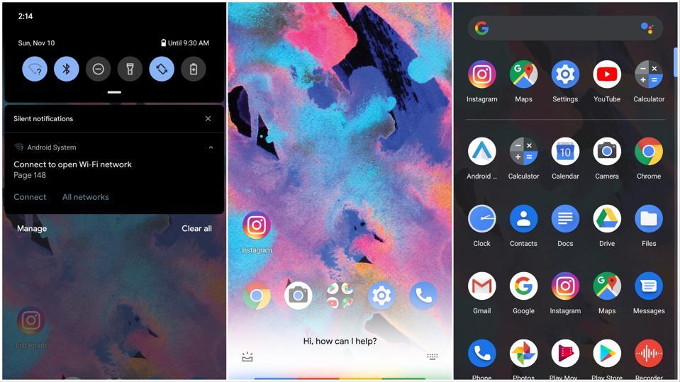 Three screenshots of Google's Android 10 UI,