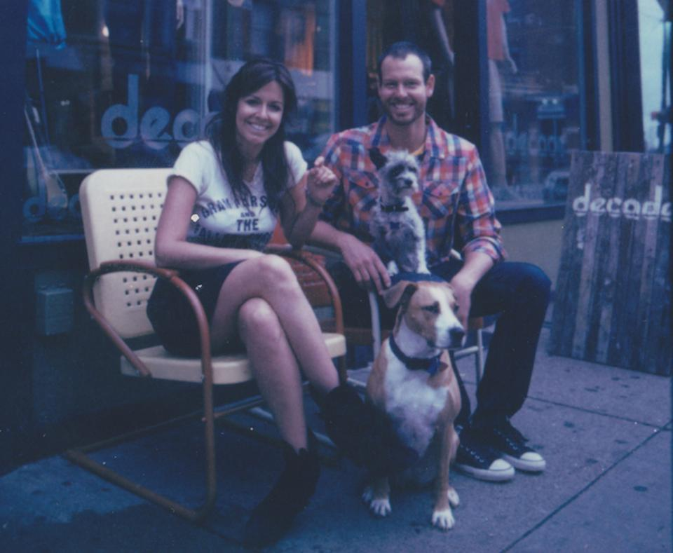 Leanne and Steve in front of his shop, Decade.