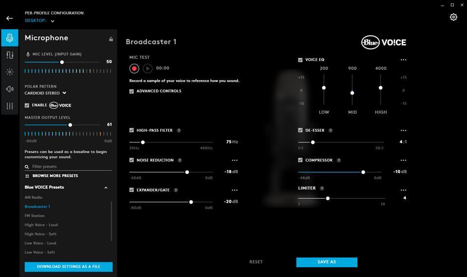 Screenshot of Blue VO!CE software