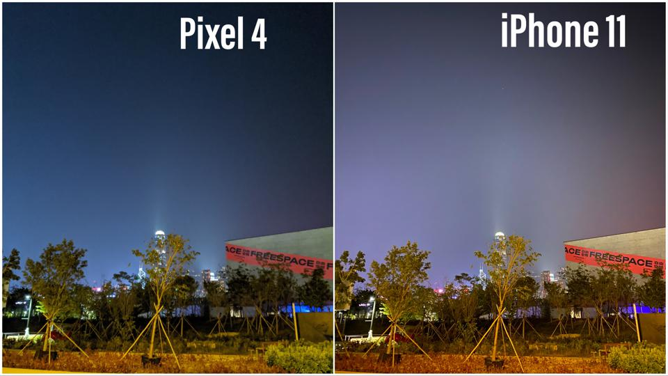 Pixel 4 vs iPhone 11 Pro image.