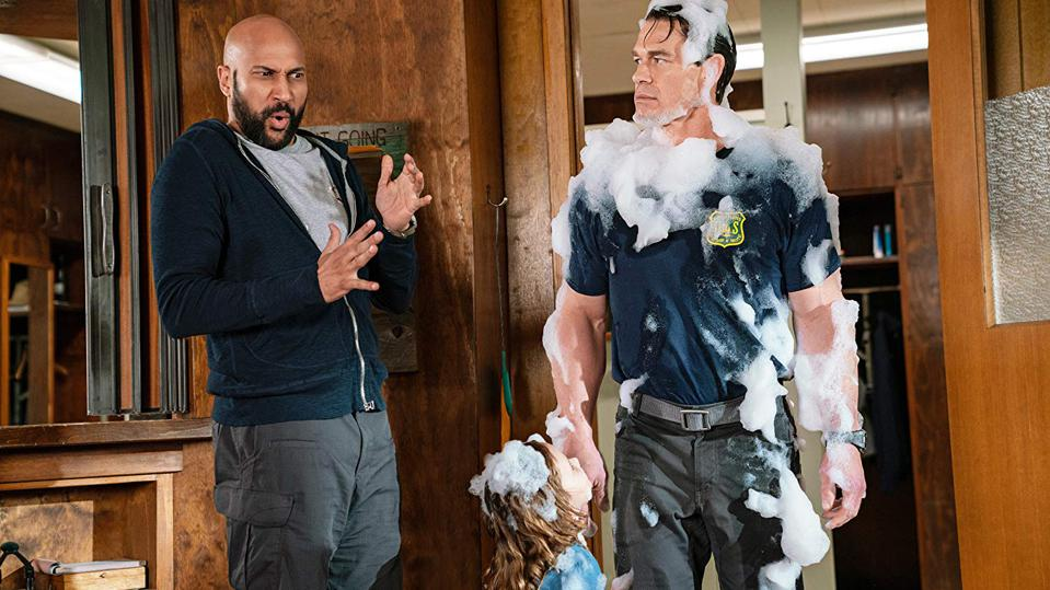 Finley Rose Slater, John Cena, and Keegan-Michael Key in Paramount's 'Playing with Fire'