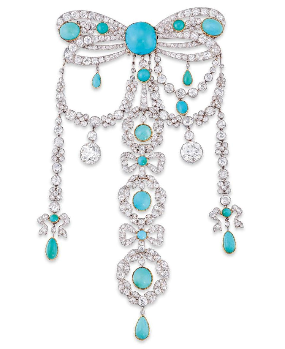 Turquoise and diamond Belle Époque brooch