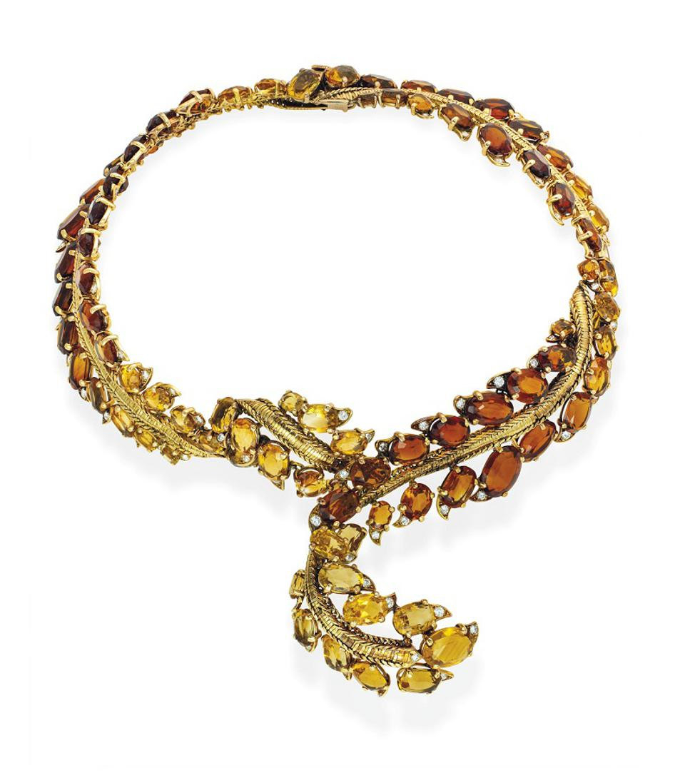 Pierre Sterle citrine, diamond and yellow gold necklace