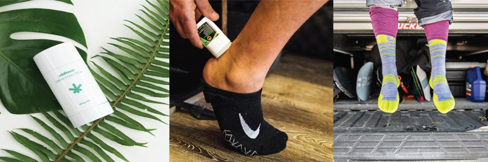 An ache-reliever CBD stick, a blister treatment, and comfortable socks