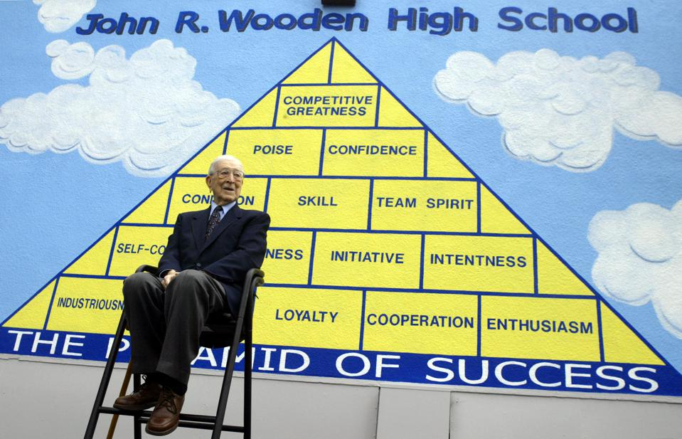 A ceremony to rename Aliso High School in Reseda to John R Wooden High School in his honor. Pic. sh