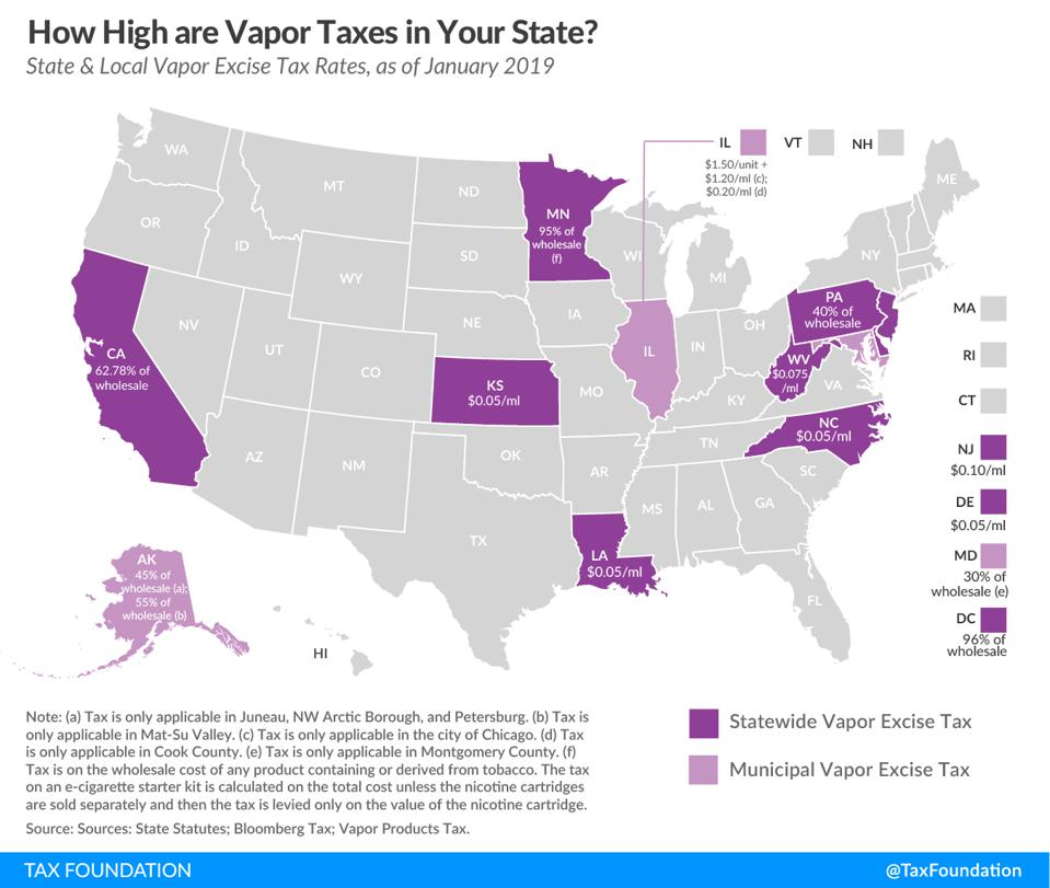 State & Local Vapor Excise Tax Rates, as of January 2019