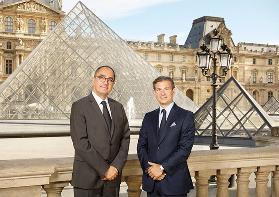 Jean-Luc Martinez, president of the Louvre Museum, and Louis Ferla, CEO of Vacheron Constantin.