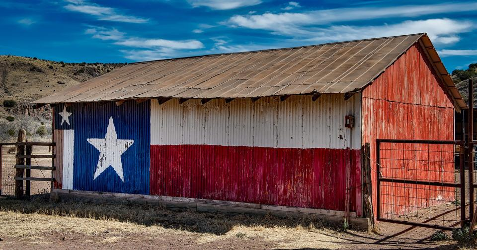 Metal shed in painted with the Texas flag.