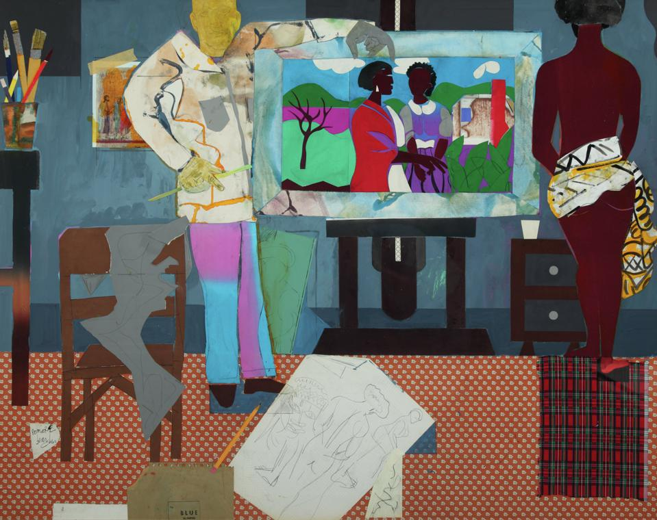 Romare Bearden (American, 1911–1988), Profile/Part II, The Thirties: Artist with Painting & Model, 1981, collage on fiberboard.