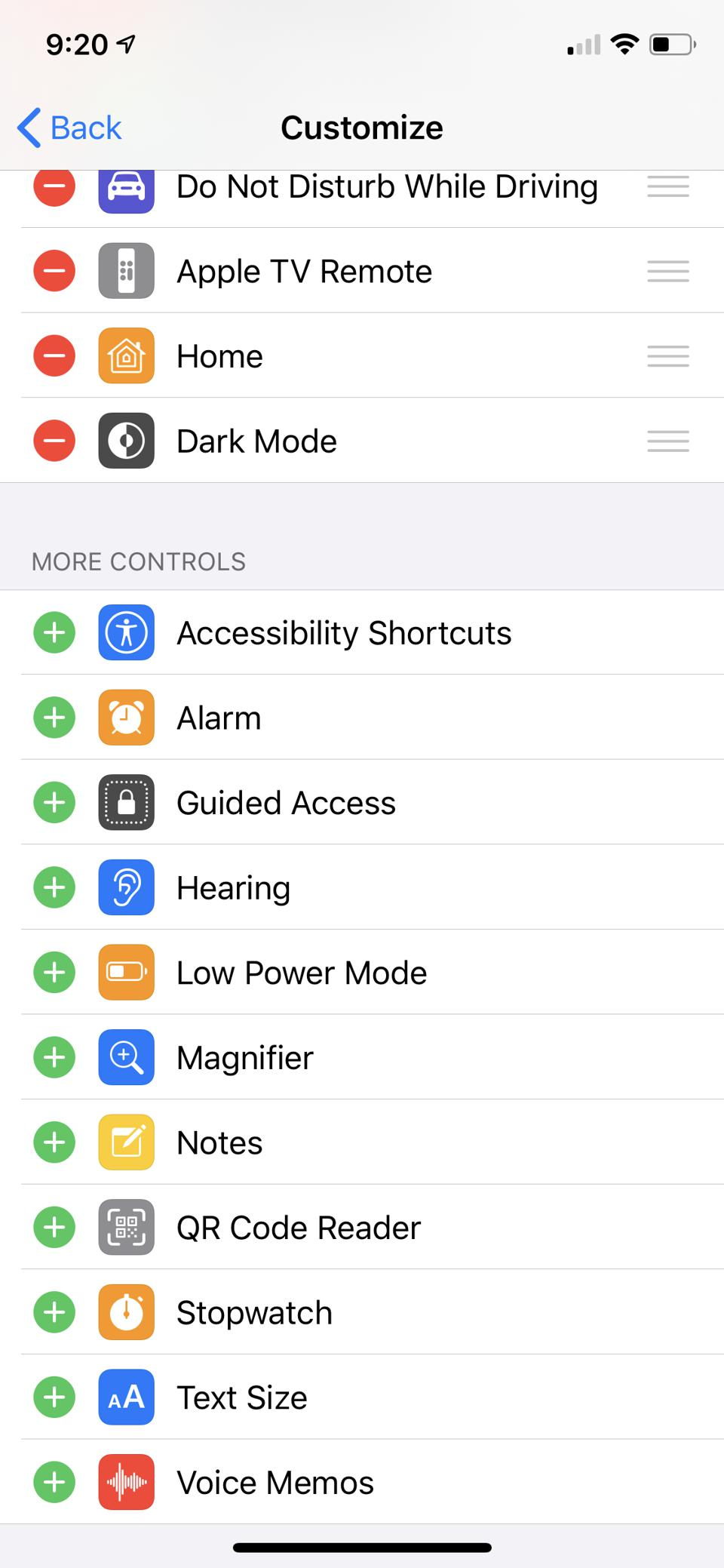 Apple's Control Center settings does not have an AirPods Pro option