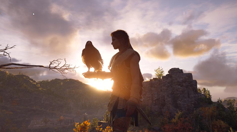 Silhouette of Kassandra from 'Assassin's Creed Odyssey'