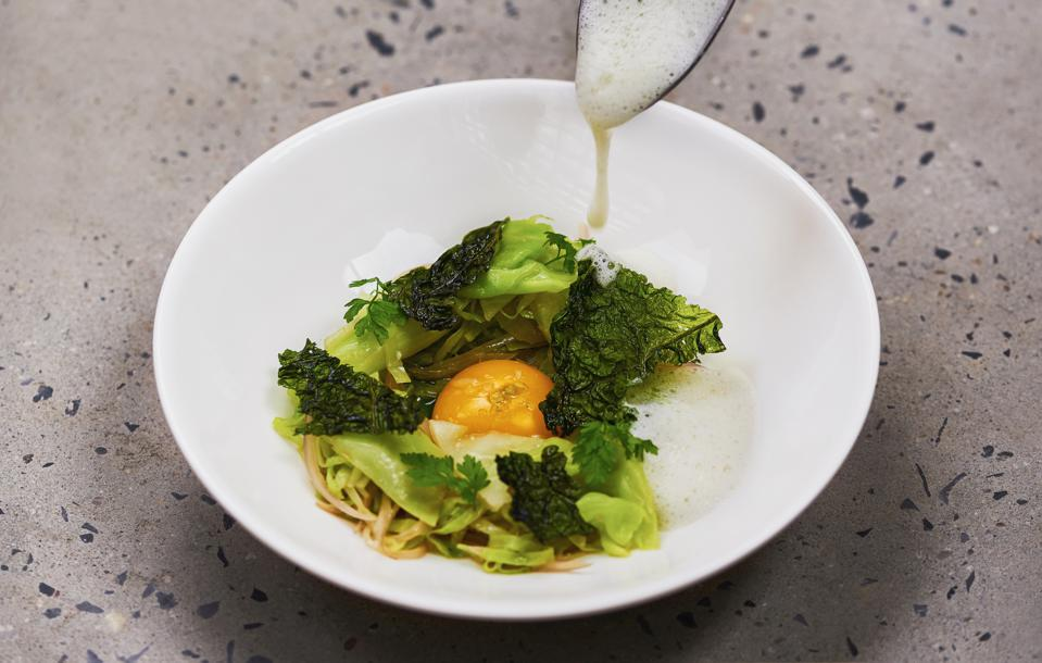 Cabbage, ragout, whey and egg yolk.
