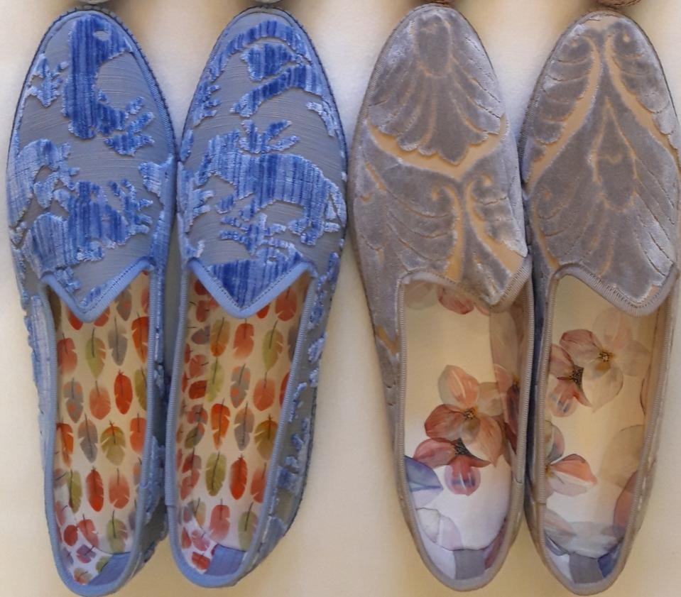 Silk Venetian slippers from Pied a Terre.