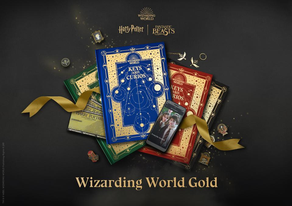 wizarding world gold celebrating J.k. rowling's wizarding world