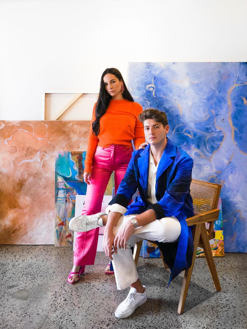 Founders of Medium Rare Art, Charles Royle and Samantha Ratiner, in their office