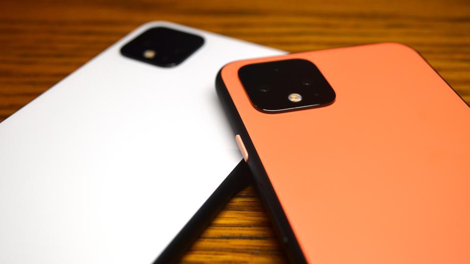 White Google Pixel 4 XL and Orange Pixel 4.