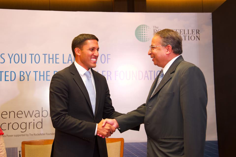 The Rockefeller Foundation president Rajiv Shah and Tata Power CEO Praveer Sinha at the TP Renewable Microgrid Ltd launch in New Delhi, 4 November 2019