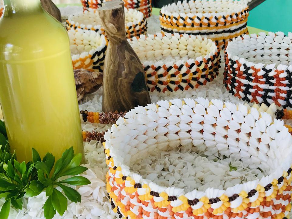 Jewellery and tonic made from hora hora and coconut