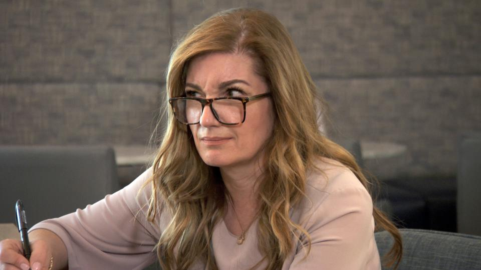 The Apprentice Karren Brady looking perplexed.