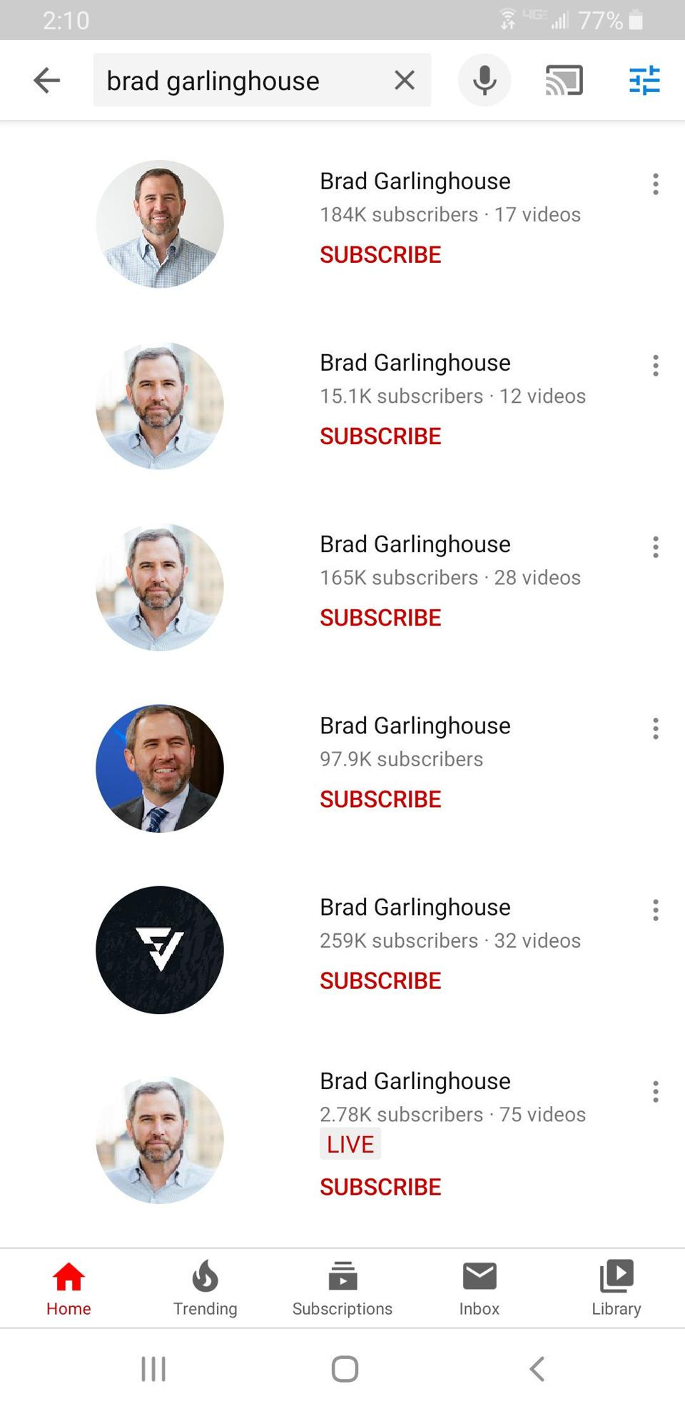 Other ″Brad Garlinghouses″ that have seemingly taken over existing channels.