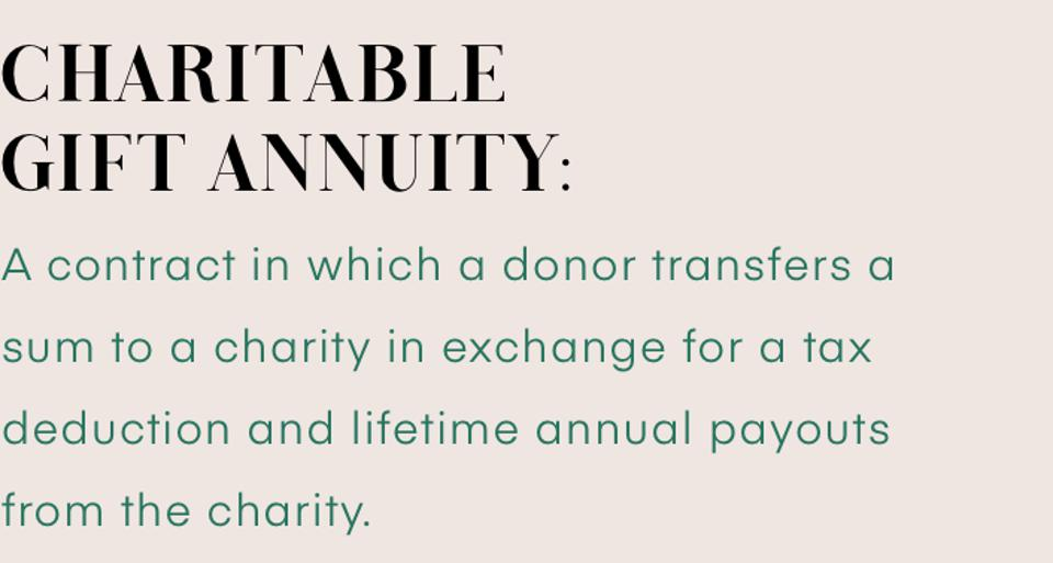 Charitable Gift Annuity: A contract in which a donor transfers a sum to a charity in exchange for a tax deduction and lifetime annual payouts from the charity.