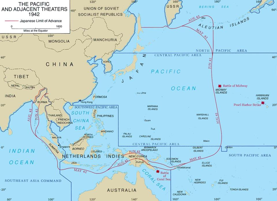 Pacific Ocean, Pacific Theater, WWII, Australia, China