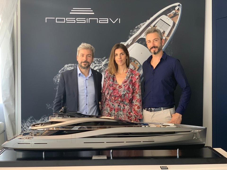 Paolo Trevisan, Head of Design and Architecture of Pininfarina USA, Greta Pininfarina and Federico Rossi, COO of Rossinavi at the unveiling of Super Sport 65 during 2019 Fort Lauderdale International Boat Show