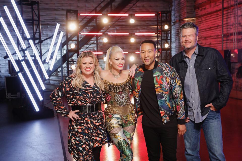Kelly Clarkson, Gwen Stefani, John Legend, and Blake Shelton. The Voice - Season 17