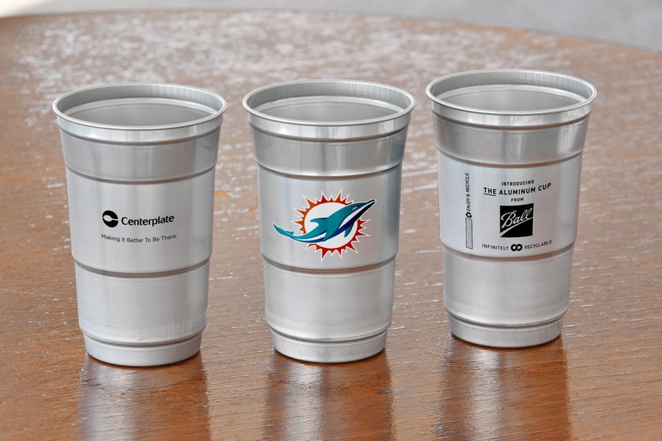 Hard Rock Stadium will use aluminum cups similar to these beginning on December 22.