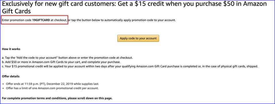 Amazon 15 Dollar Free Money Offer on Gift Cards