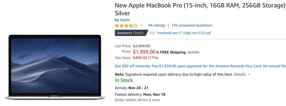 Amazon Black Friday laptop deals, Amazon Black Friday MacBook deals, Black Friday MacBook Pro sales,