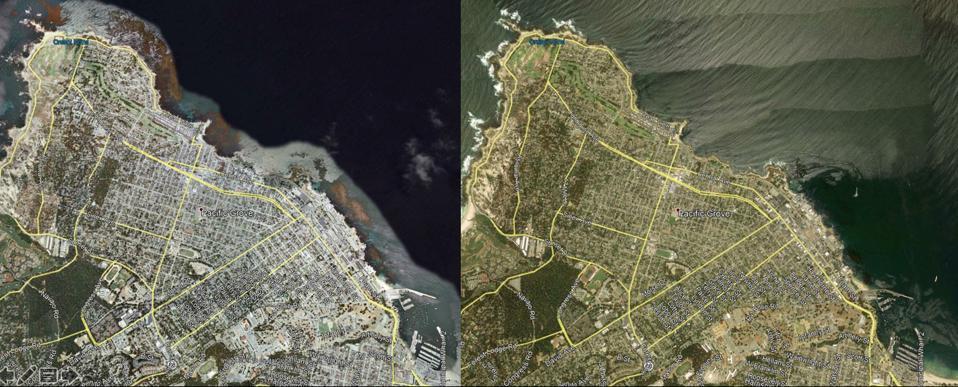 Kelp cover in Monterey Bay June 2007 (left) to June 2017 (right)