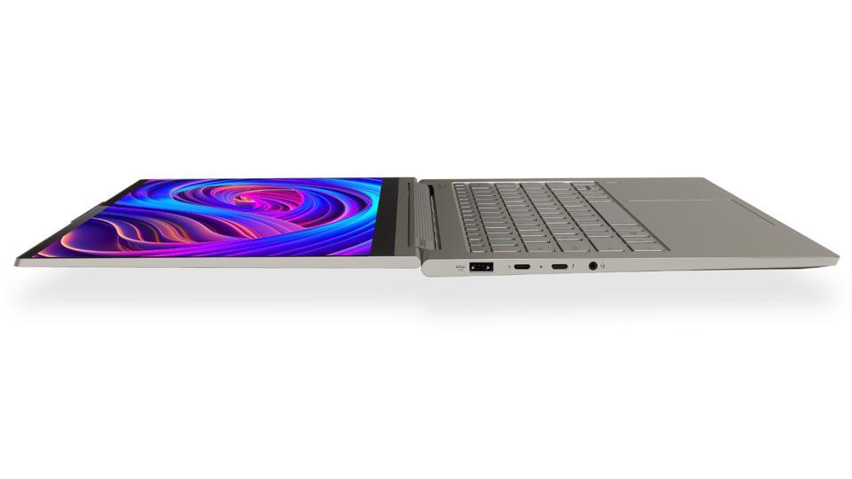 Lenovo Yoga laptop lying flat.