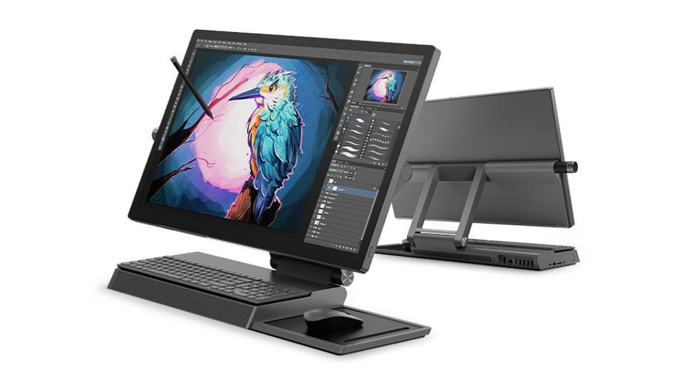Black Lenovo Yoga A940 all-in-one desktop.