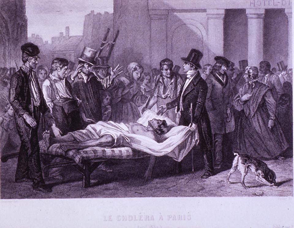 An antique engraving of a scene in Paris in the time of cholera.