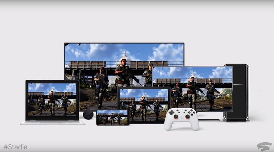 Stadia controller with a game image shown on a range of devices.