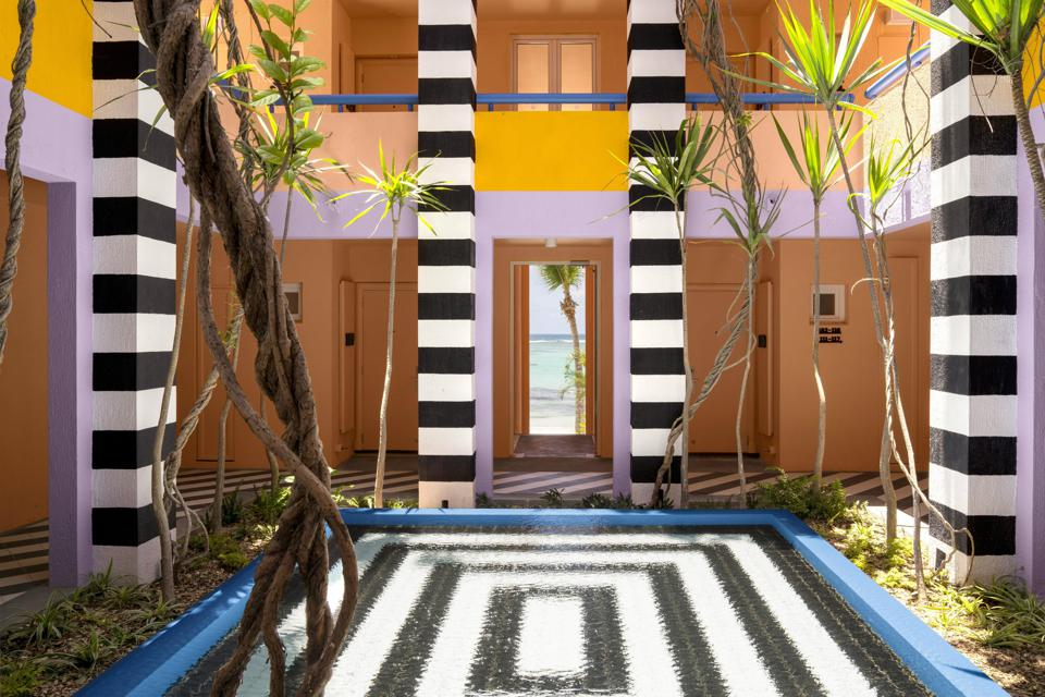 The design is dramatic in the sunny courtyard