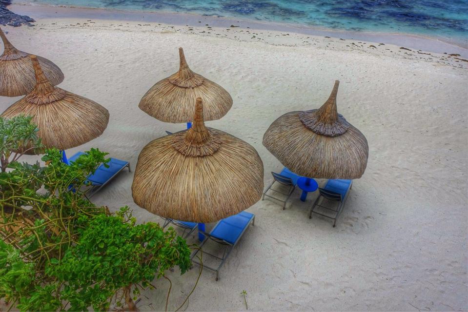 Thatch-type beach umbrellas