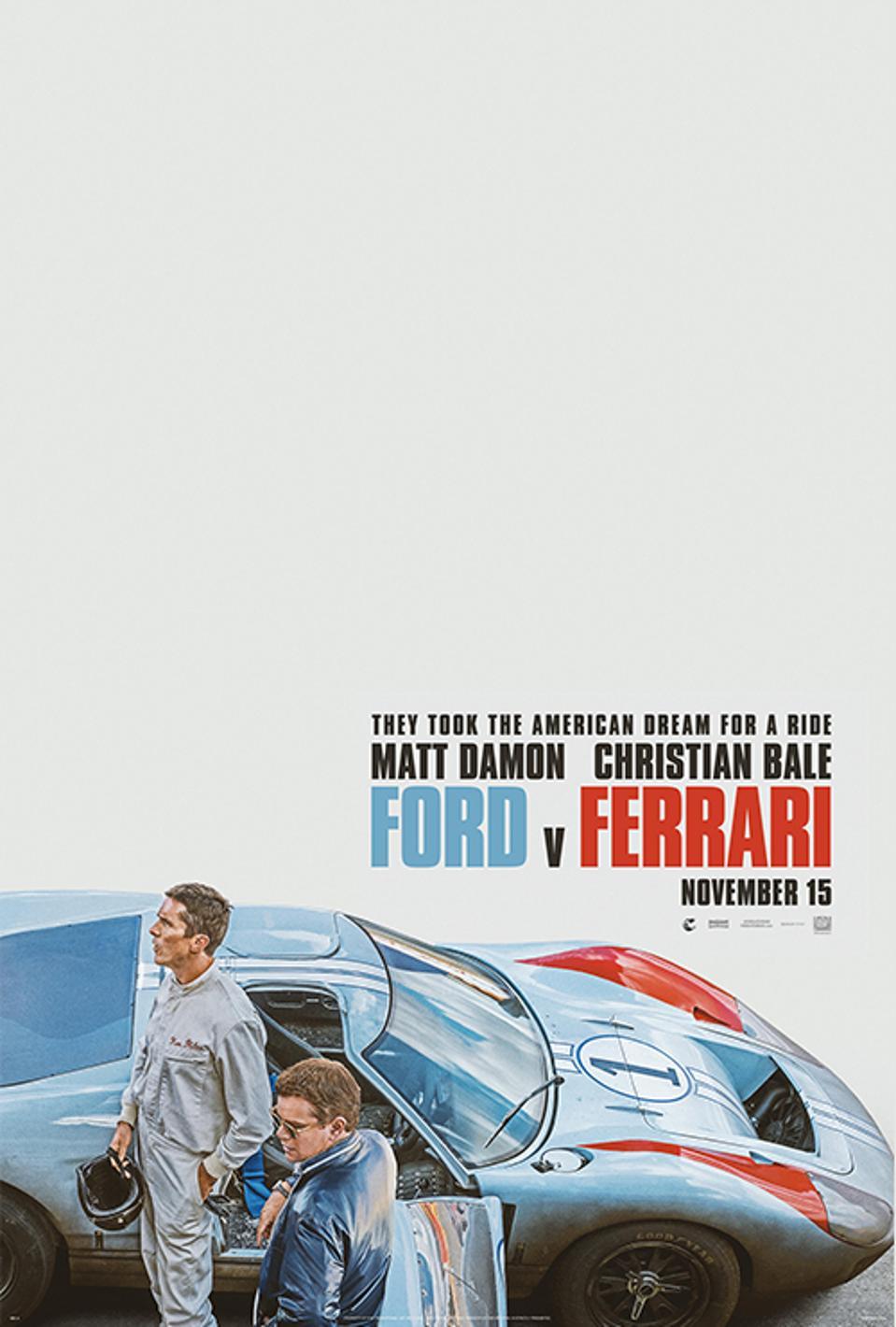 Official poster for Fox's ″Ford v Ferrari″