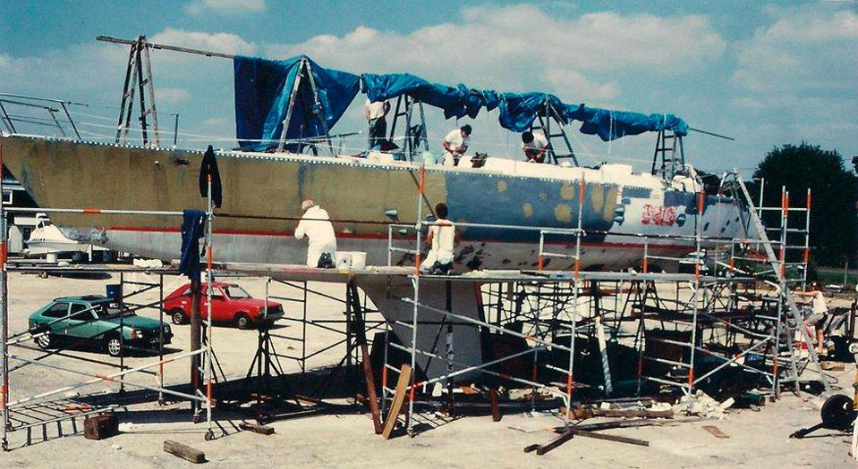 Maiden boat being refit-August-1988, Photo from Tracy Edwards