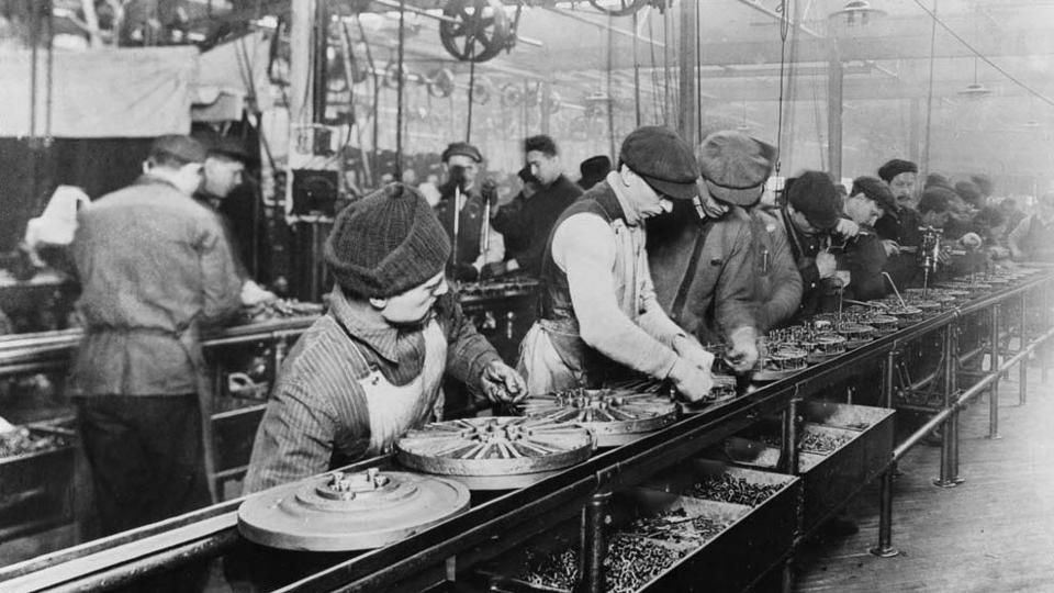Assembly line (1913) for Ford autos - Highland Park, Michigan