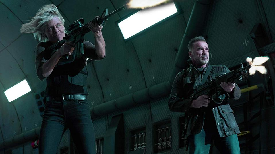 Linda Hamilton and Arnold Schwarzenegger in Tim Miller and James Cameron's 'Terminator Dark Fate'
