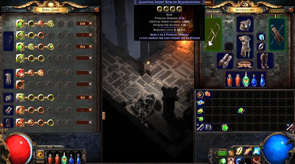The gem interface in 'Path of Exile 2'
